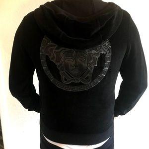 Versace Medusa Velvet Leather Black Hoodie Jacket
